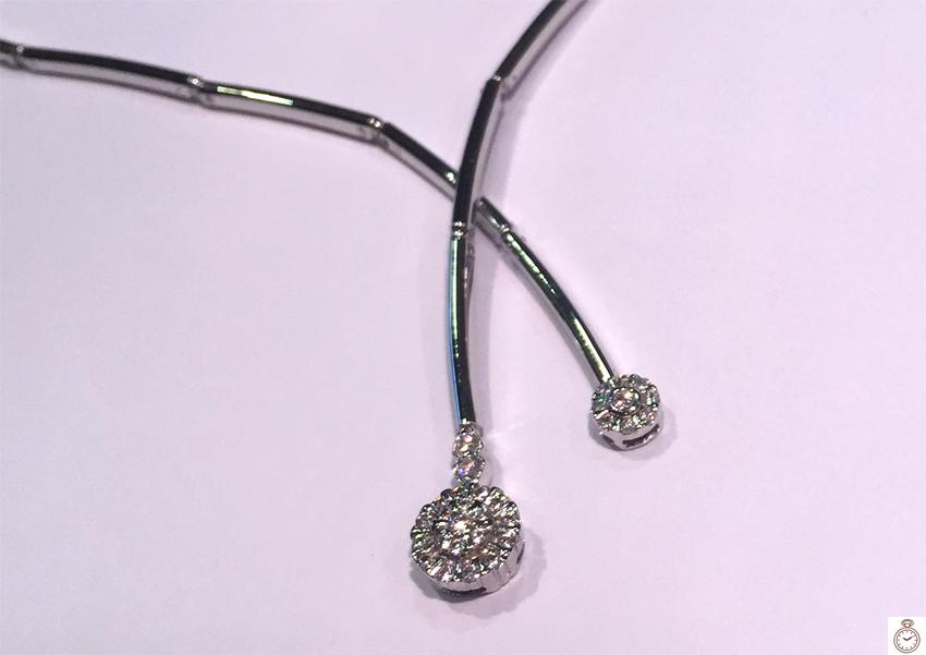 488b961d351e Gargantilla de Oro blanco con rosetón de circonitas